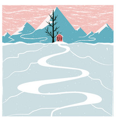 with winter mountain landscape red house black vector image