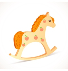 Wooden realistic horse toy vector image