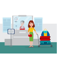 worker sitting counter vector image