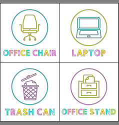 workplace furnishing linear style set vector image