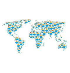 Worldwide map mosaic of hatch chick items vector