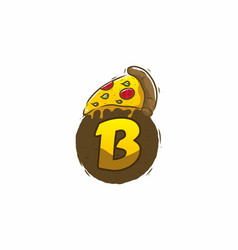 Yellow brown pizza slice with b initial letter vector