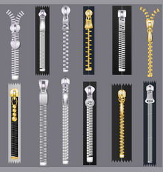 zipper zip slide-fastener for clothing and vector image