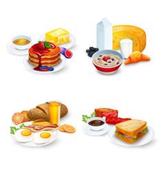Breakfast Compositions Set vector image