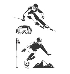 elements for vintage ski and snowboard vector image vector image