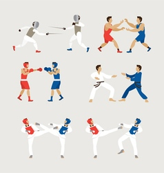 Fighting Sports Athletes Men Set vector image