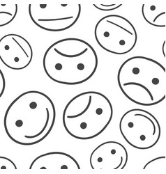 hand drawn smiley face seamless pattern vector image