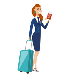 stewardess showing passport and airplane ticket vector image