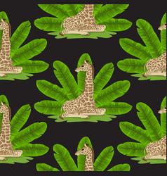 Giraffe and banana fan seamless pattern vector