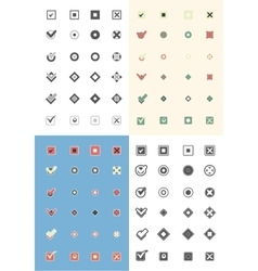 Large set of flat buttons colorful check marks and vector