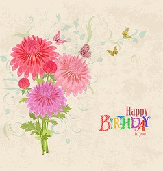 lovely bouquet of pink chrysanthemums on grunge vector image vector image