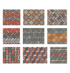 Seamless stone tiles pavement set vector image vector image