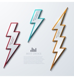 lightning bolt banners set 3 variants vector image vector image