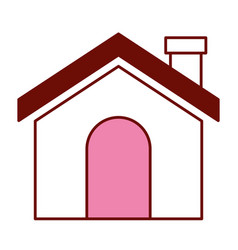 pink and scarlet red sections silhouette of house vector image
