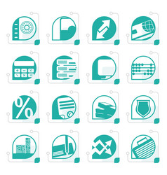 stylized bank business finance and office icons vector image