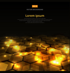abstract golden shine hexagon geometric ground vector image vector image