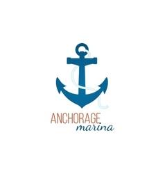 Anchorage marina logo template with anchor vector image
