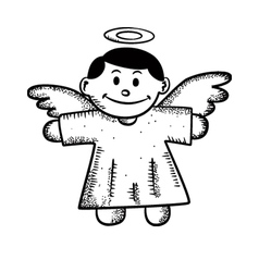 cartoon angel doodle vector image vector image