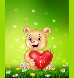 cartoon bear holding red heart balloons on green g vector image vector image