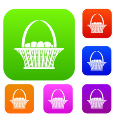 easter basket set color collection vector image vector image