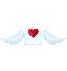 envelope with wings like cupid sending love and vector image vector image