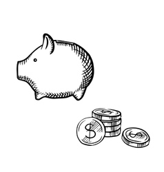 Piggy bank and coins stack sketch vector image