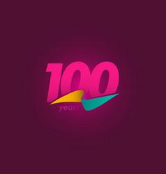 100 years anniversary celebration purple ribbon vector