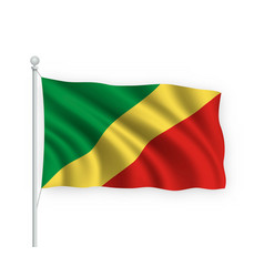 3d waving flag republic congo isolated on white vector