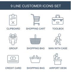 9 customer icons vector