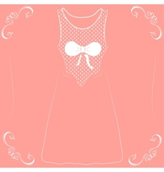 a wedding dress with a bow on a pink background vector image