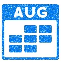August Calendar Grid Grainy Texture Icon vector
