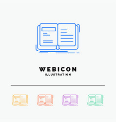 Author book open story storytelling 5 color line vector
