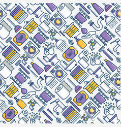 Bathroom seamless pattern with thin line icons vector