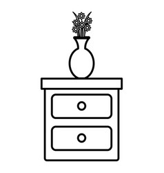 Bedroom drawer with flower vase vector