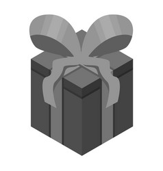 black gift box icon isometric style vector image