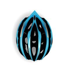 Blue and black bicycle equipment bike helmet icon vector