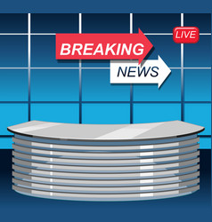 Breaking news studio background vector