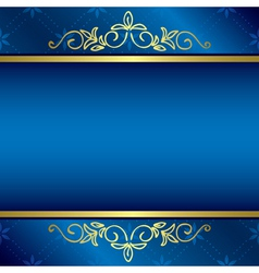 Bright blue card with floral gold decorations vector
