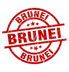 Brunei red round grunge stamp vector