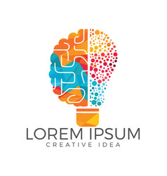 Bulb and brain logo design vector
