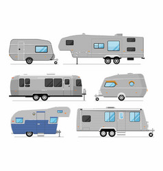 Camping trailer isolated on white set vector