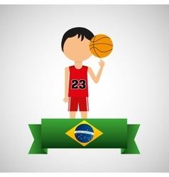 Cartoon basketball player brazilian label vector