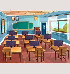 Cartoon empty school college classroom vector