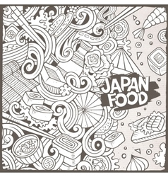 Cartoon hand-drawn doodles Japan food vector
