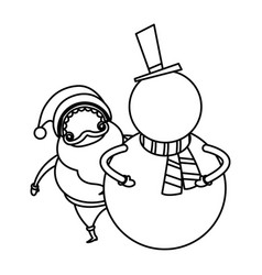 christmas santa and snowman funny celebration vector image
