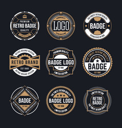 Circle vintage and retro badge design collection vector