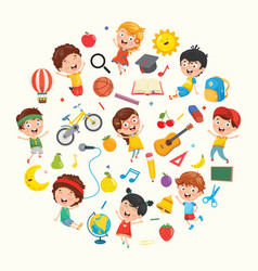 collection of kids and objects vector image