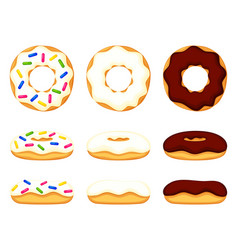 colorful cartoon various donut set vector image