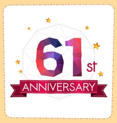 Colorful polygonal anniversary logo 2 061 vector