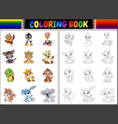 Coloring book with animals cartoon collection vector